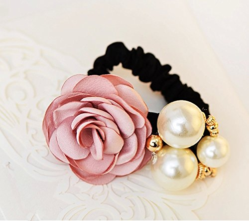 Cuhair(tm) Fashion 1pc Ponytail Holder Camellia with Big Pearl Flower Design for Girl Women Hair Elastic Tie Hair Rope Accessories