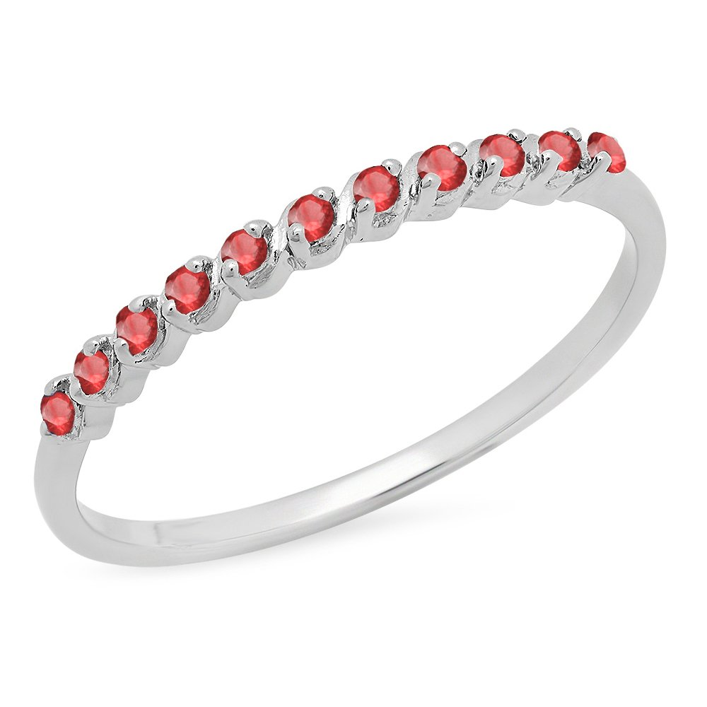 Dazzlingrock Collection 0.12 Carat (ctw) Sterling Silver Round Ruby Ladies Wedding Stackable Band, Size 8 by Dazzlingrock Collection