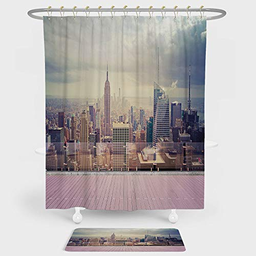 (Modern Decor Shower Curtain And Floor Mat Combination Set New York City Usa Landscape from Roof Apartment Balcony Photo Image For decoration and daily use Grey White and)