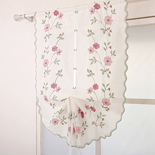 ZHH 1 Panel Polyester Handmade Crochet Flowers Pastoral Style Rustic Tie-Up Balloon Curtain 25-Inch By 57-Inch,Pink by ZHH (Image #2)