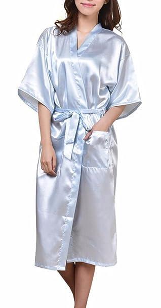 ECHERY Suave Larga Satén Albornoz Kimono Batas Camisón Robe Ropa de Dormir Pijamas para Mujer: Amazon.es: Ropa y accesorios