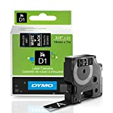 DYMO Standard D1 Labeling Tape for LabelManager Label Makers, White print on Black tape, 3/4'' W x 23' L, 1 cartridge (45811)