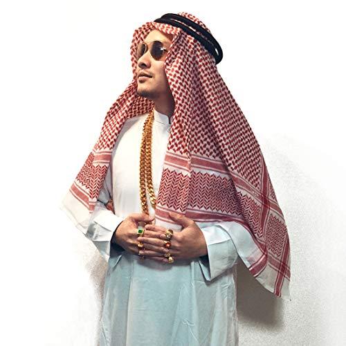 Adult Men Arab Head Scarf Keffiyeh Middle East Desert Shemagh Wrap Muslim Headwear Arabian Costume Accessories (Red)]()