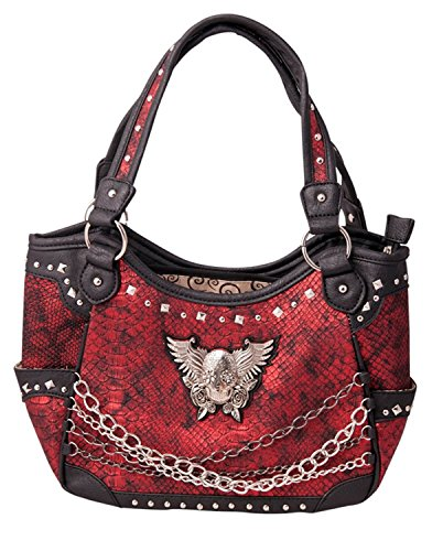 Skull With Wings (HW Collection Western Sugar Skull Wings Roses with Chains Concealed Carry Handbag (Red))