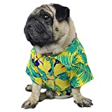 LAMONDE Dog Hawaiian Shirt, Summer Dog Clothes, Puppy Cats Seaside Resort Apparel Outfits, Breeze Camp Luau Costumes for Frenchie Bulldogs