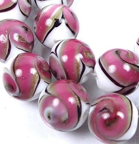 12mm Lampwork Handmade Glass Pink Swirls with Gold Sand Round Beads (8), Beading, Jewelry Making, DIY Crafting, Arts & Sewing by Perfect Beeds Store ()