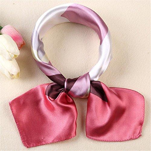 FLYRCX Nouveau printemps et l'été décoration foulard soie foulard cheveux doux avec les femmes écharpe treillis confortable 60cmx60cm