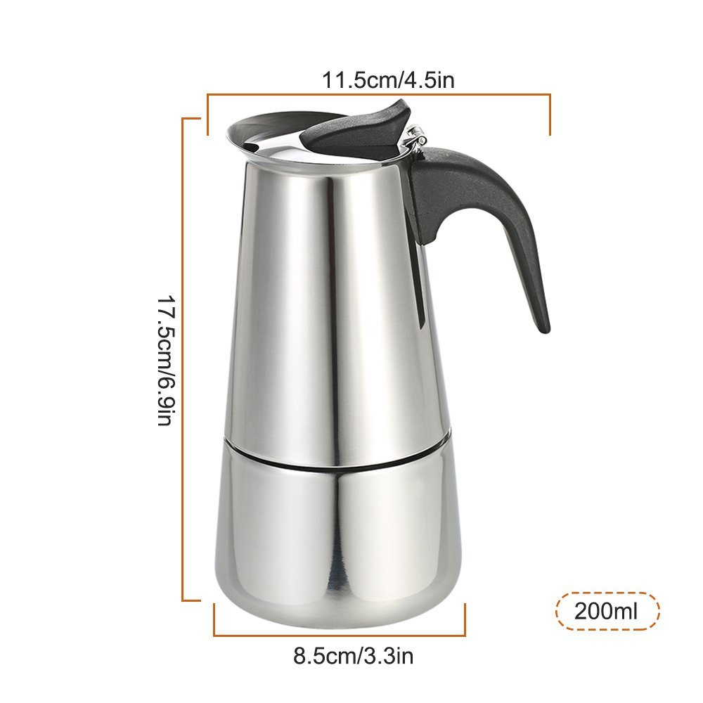 Decdeal Stainless Steel Espresso Percolator Coffee Stovetop Maker Mocha Pot for Use on Gas or Electric Stove by Decdeal (Image #4)