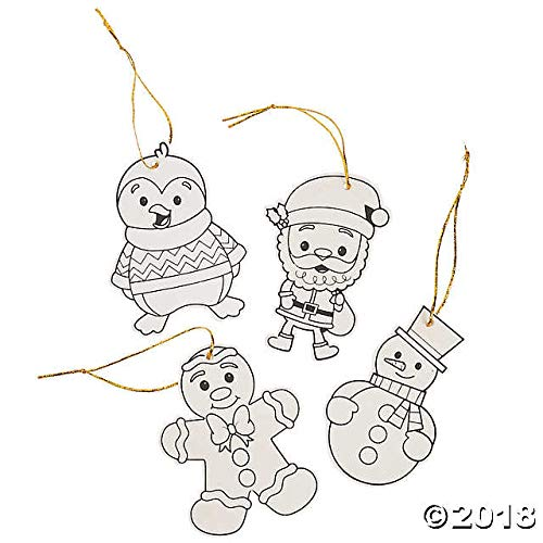 Fun Express 12 Wood Christmas Character Ornaments to Paint or Color-Gingerbread, Elf, Penguin, Snowman-Craft for Kids