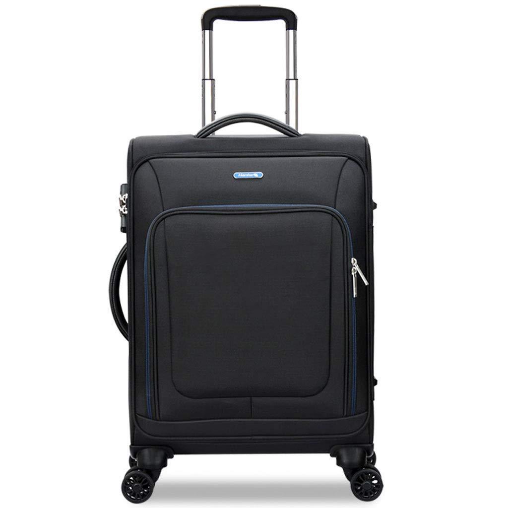 トロリーケース- 男性の旅行黒スーツケースビジネストロリーケース、男性と女性のキャスター荷物24インチ (Color : Black, Size : 24in) B07VPD7QPQ Black 24in