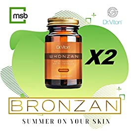 1 + 1 Sunless Tanning Bronzan Pills Fast Tanning Super Tanner Dark Tan Vegan Formula Natural Tan Golden Glow Shiny Skin Care