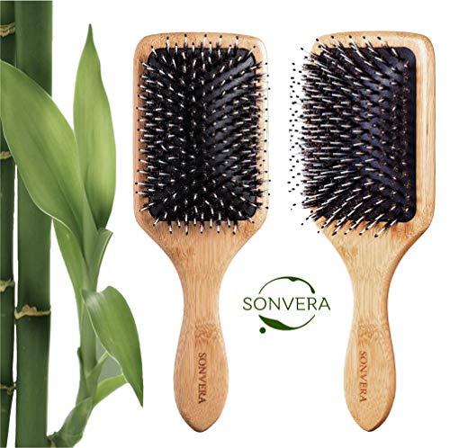 Boar Bristle Detangling Hair Brush Men Mens | Nylon Boars Detangle Hair Brushes for Women Mens | Paddle Brush 100% Bamboo Wooden Bore Pro Eco Hairbrush for Thin Natural Soft Fine Hair