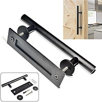 Tirador de puerta corredera de 30,48 cm para puerta, con mango de barra resistente, para puerta, color negro: Amazon.es: Bricolaje y herramientas