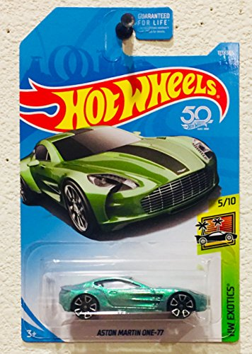Cheap Hot Wheels 2018 50th Anniversary HW Exotics Aston Martin One-77 117/365, Pale Green for cheap