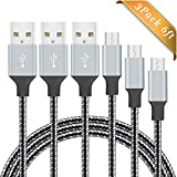 Micro USB Cable BUDGET & GOOD® 3 Pack 6FT Nylon Braided USB Charging Cable High Speed Cell Phone USB Data Sync Charger Cable Wire for Samsung LG Nexus Sony Android Phones Tablets - Silver Black ...