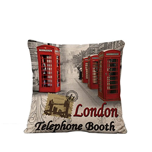 Cushion Booth (British Style Vintage Flax Printing Pillow Cover Cushion Case For Home Bedding Car Sofa Decoration(London Telephone Booth))