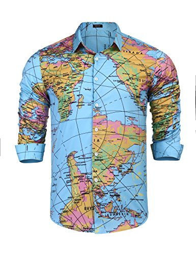 World Map Button Down Shirt.Jual Coofandy Men S Long Sleeve World Map Printed Casual Button Down