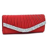Woman Rhinestone Evening Bag Clutch Purse Crystal Pleated Satin Party Handbag
