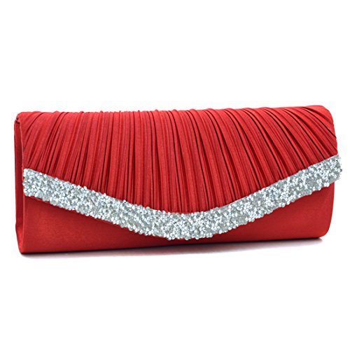 Woman Rhinestone Evening Bag Clutch Purse Crystal Pleated Satin Party Handbag Red