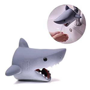 Odowalker Cartoon Faucet Extender Washbasin Bath Spout Cover Cute Animal Toy Faucet Cover Bath Safety Fun for Babies Toddlers Kids Children (Grey Shark)