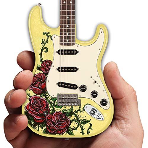 """Artist David Lozeau""""Roses Tattoo"""" Miniature Fender Stratocaster Collectible Statuette Replica Tribute Mini Guitar Model"""