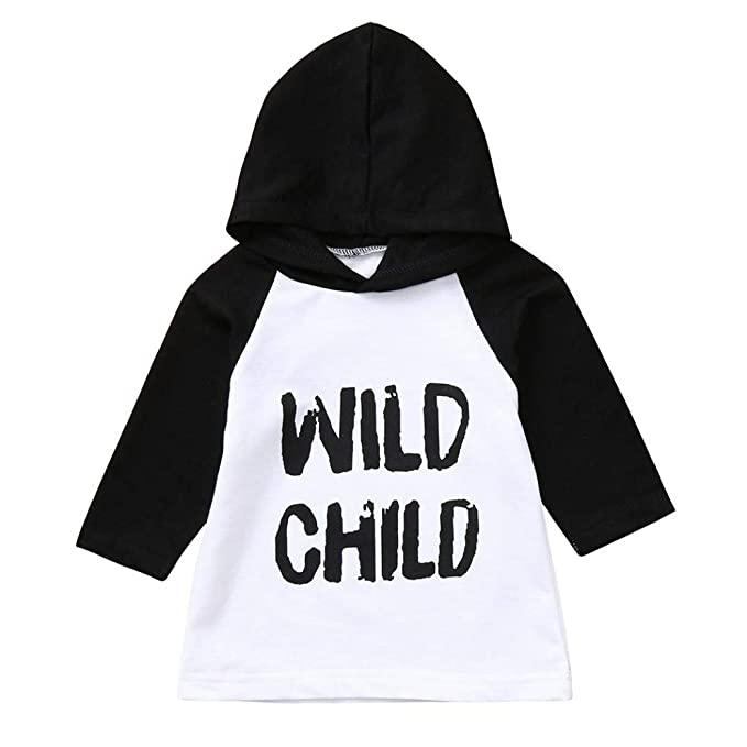 f9d2104a9df5 SCSAlgin Blouse Toddler Baby Kids Boys Girls Long Sleeve Letter Print Hooded  Tops Outfits Clothes (