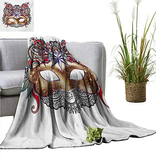 AndyTours Soft Cozy Throw Blanket,Mardi Gras,Venetian Carnival Mask Silhouette with Ornamental Elements Masquerade Costume,Multicolor,for Bed & Couch Sofa Easy Care -