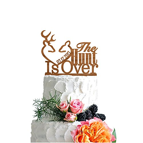 P Lab Personalized Cake Topper The Hunt Is Over Date Custom Wedding Cake Topper Rustic Wood Decoration Keepsake Engagement Favors for Special Event Cherry Wood for $<!--$27.95-->