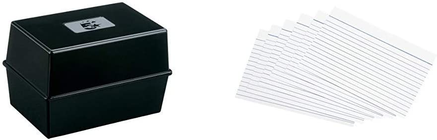 2 X Office Card Index Box Capacity 250 Cards 6x4in 152x102mm Black