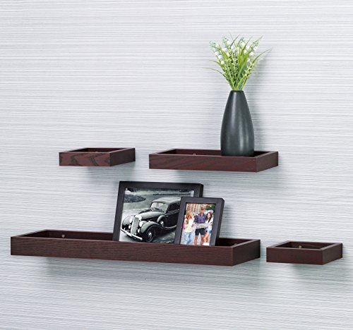 "Multilength 4-Pieces Wall Shelf,Floating Wall Ledge Tray Shelf O&K Furniture (Red Oak/Dark Cherry, 22"" Length, Set of 4)"