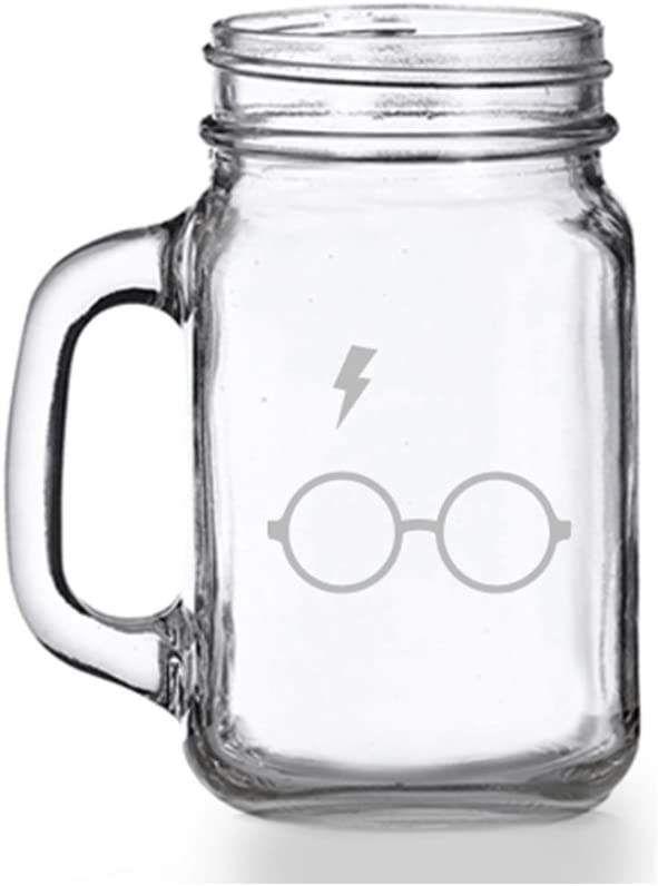 Harry Potter Lightning Glass Mason Jar Mug
