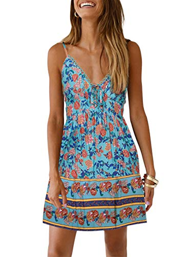 CANIKAT Womens Fashion Deep V Neck Spaghetti Strap Dress Floral Print A Line Pleated Beach Swing Skater Mini Dress for Ladies Sky Blue M