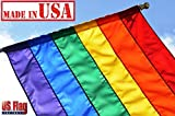 US Flag Factory 3'x5′ Rainbow Flag (SEWN Stripes) (Pole Sleeve) Outdoor SolarMax Nylon – Premium Quality – Made in America – Gay Pride Lesbian Bisexual Transgender LGBT
