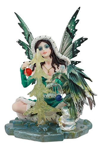 (Ebros Elf Fairy with Green Dragon Building Frozen Christmas Tree Statue 5.5