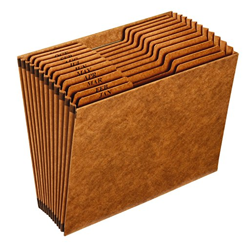 Globe-Weis/Pendaflex Heavy-Duty Expanding File, Open Top, 12 Pockets, Monthly Index, Letter Size, Brown (R217MHD) (Cut Top Tab Monthly File)
