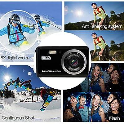 MiniDigitalCameraforPhotographywith3InchLCD8XDigitalZoom,20MPHDDigitalCameraRechargeablePointandShootCamera,IndoorOutdoorforKids/Seniors/Learner(Black) from iShare