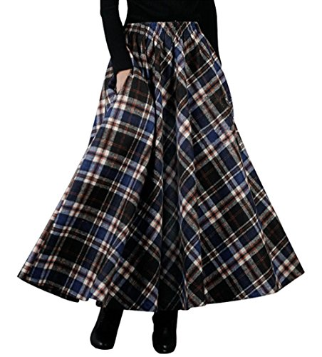 Bininbox Women's Thick Vintage Plaid Pleated Skirt Autumn Winter Long Skirts (Length (Autumn Skirt)