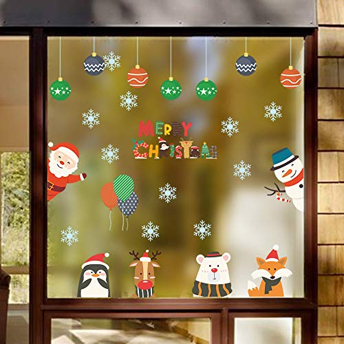 Iusun Merry Christmas Santa Claus Snowflake Reindeer Wall Stickers Window Wall Decals for Bedroom Living Room Restaurant Mall Xmas Decoration (A) ()
