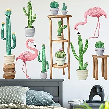 YSQARS Flamingo Cactus Planta en Maceta Pegatinas de Pared Sala de ...