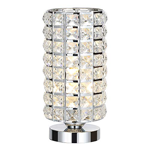 HAITRAL Crystal Table Lamp - Elegant Decorative Bedside Night Light Lamp, Chrome Silver Desk Lamp for Bedroom, Living Room, Girls Room or as Ideal Gifts (HT-BD016)