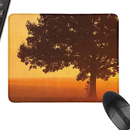 Slimline Mouse Pad Tree Lonely Tree on The Field at Sunrise in Warm Color Countryside Foggy Morning Scenery for Office, Gaming, Learning,15.7