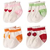 4 Pairs Baby Socks, Colorfox Toddler Boys Girls Novelty Cozy Cotton Soks with Grips for 12-24 Months