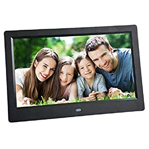 Black Friday Celendi 10 Inch 1024x600 High Resolution Ultra-thin Digital Photo Frame with Auto On/Off Timer, MP3 and Video Player -Best Mother's Day Gift(Black)