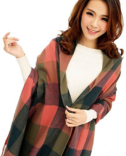 CHASOEA Womens Plaid Blanket Long Shawl Big Grid Winter Warm Lattice Large Scarf Scarves (Dark Red)