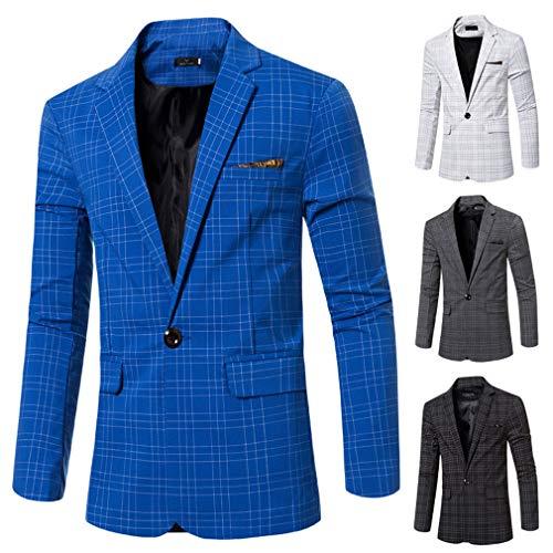 Giacca Affari Casuale Elegante Cappotto Dimensioni Grandi Outwear Plaid Classico Blazers One Grigio Vestito Slim Fit Di Uomo Button xqA4Ow