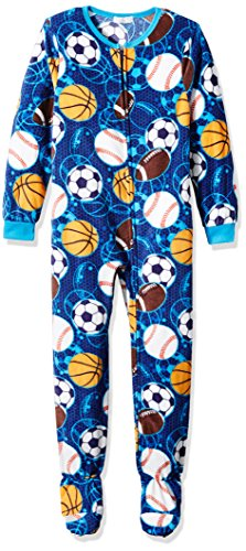 Komar Kids Komar Kids Big Boys' Sports Plush Velour Fleece Blanket Sleeper, Blue Sports, Medium price tips cheap