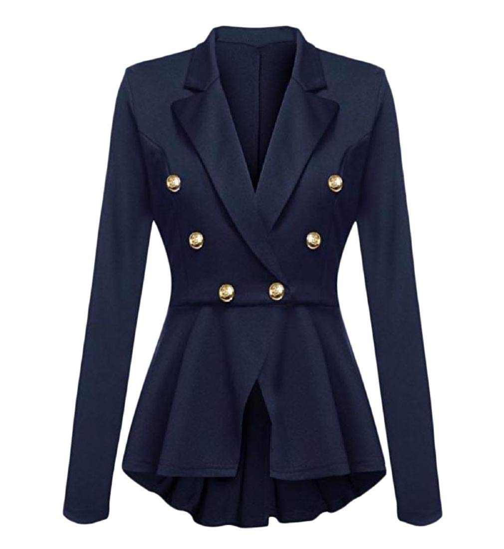 Women Pure Color Slim Fitting Blazer Tunic All-Match Suit Jacket Blue S