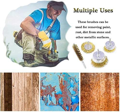corrosi/ón y pintura madera Juego de 9 cepillos met/álicos para taladro para /óxido v/ástago de 6 mm liso para limpieza de /óxido metal