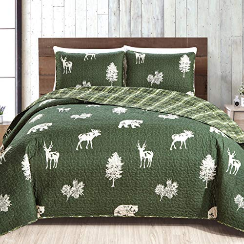 3-Piece Lodge Quilt Set with Shams. Durable Cabin Bedspread and Shams with Rustic Printed Pattern. Rio Ridge Collection (Full/Queen, Forest Green) (Green Quilt Dark)