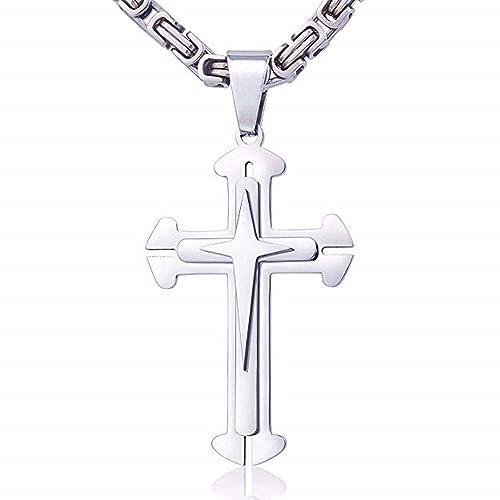 Amazon.com: Jzone - Collar con colgante de cruz de doble ...